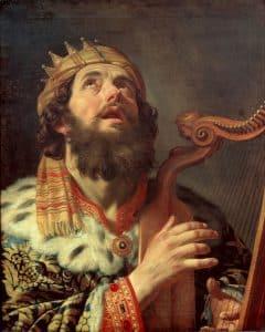 Koning David speelt de harp, door de Nederlandse schilder Gerard van Honthorst (1622)